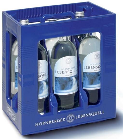 Hornberger Lebensquell nature 6 x 1Liter still water glass bottle Original box