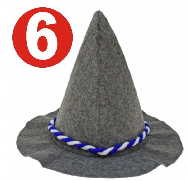6 x Seppelhut gray heavy felt with blue / white cord for Oktoberfest 33 cm