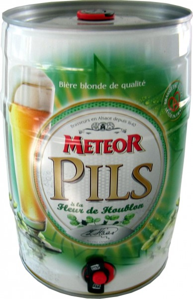 Meteor Pils 5 liter party Dose 5.0% vol. REDUCED best before 03.11.2020