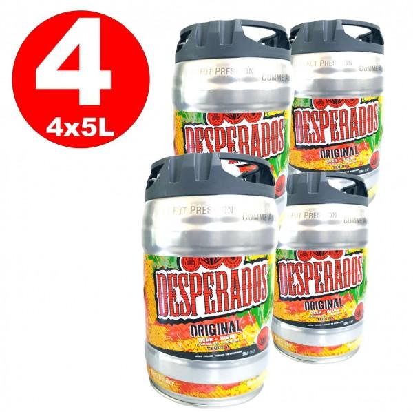 4 x Desperados beer with Tequila in 5 liter keg incl. Spigot 5,9% vol.