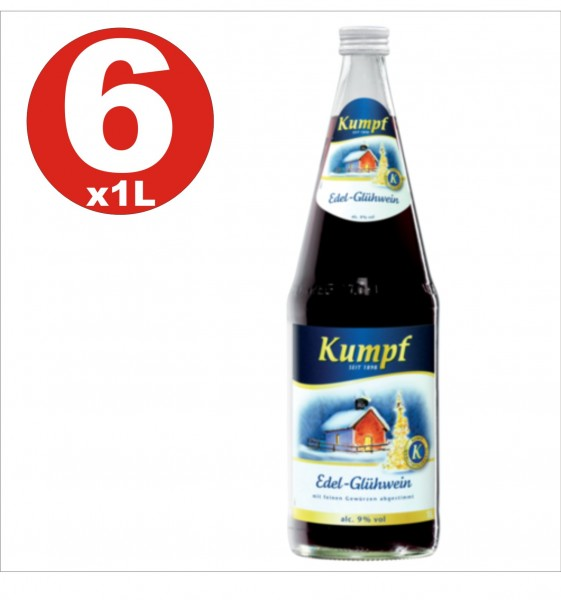 6 x Kumpf Edel Gluehwein mulled wine 9% vol. alc. alcoholic hot drink