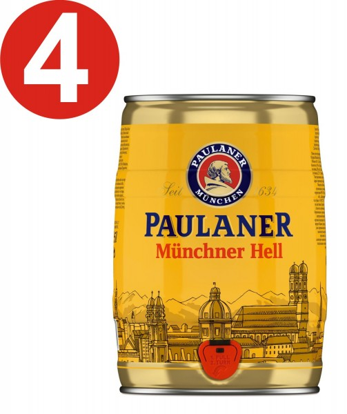 4 x Paulaner Muenchner Hell 5 liters of 4.9% vol party keg