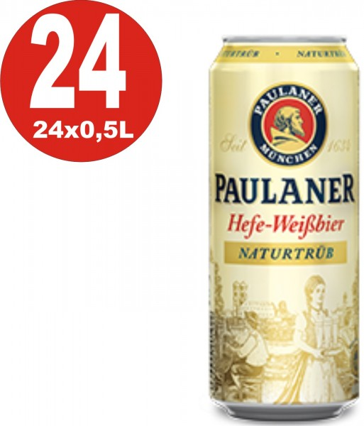 24 x Paulaner Hefeweissbier nature cloudy 0,5L tin 5,5% Vol.alc