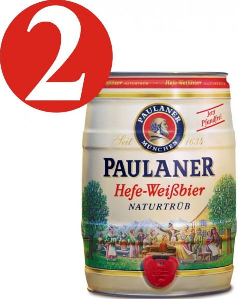 2 x Paulaner wheat yeast beer unfiltered barrel, 5 Litre 5,5 % vol.