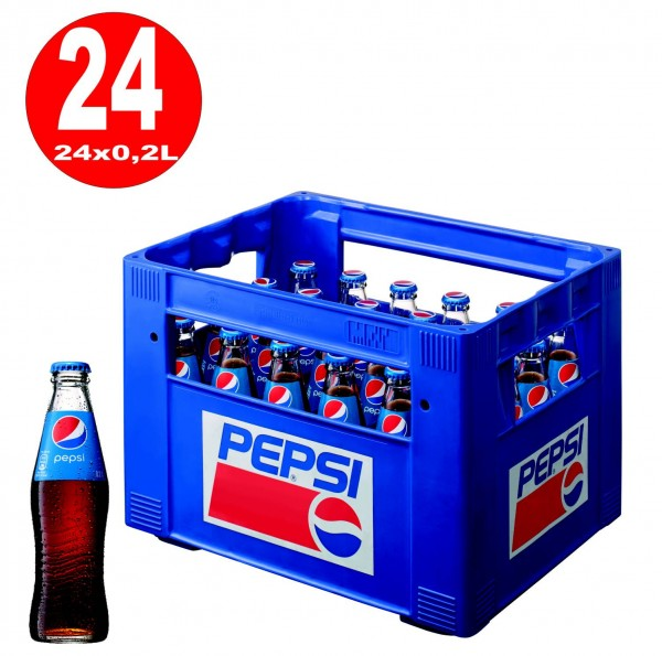 24 x Pepsi-Cola 0.2L glass bottle in original box