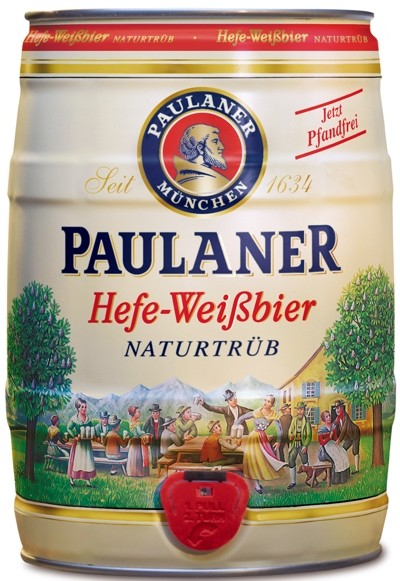 Paulaner wheat yeast beer unfiltered barrel, 5 Litre 5,5 % vol.