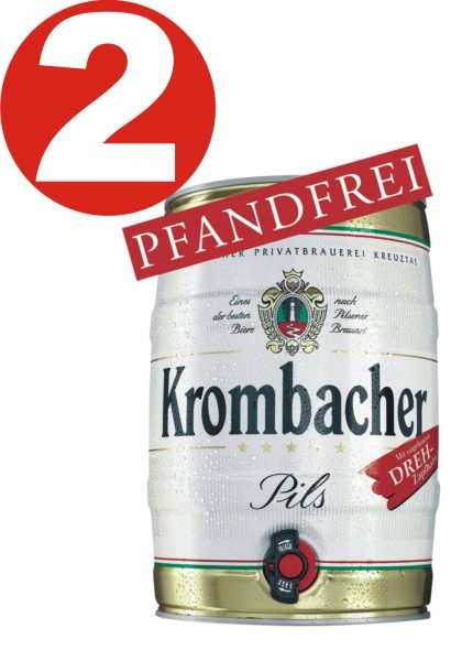 2 x Krombacher Party Keg 5 L 4.8% vol.-REDUCED Expiry date: 12-2019