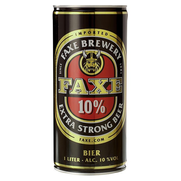 12 x faxes extra strong 10% vol. Strong beer from Denmark 1 liter can