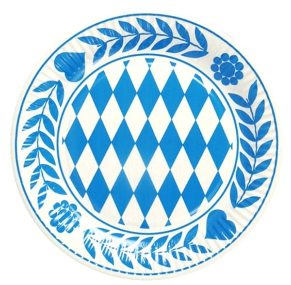 10 pieces Bavaria plate, cardboard round diameter 23 cm Bavarian blue