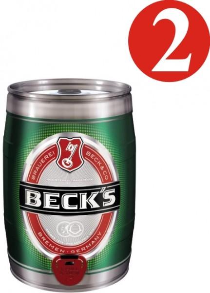 2x Becks Pils 5 liters Partyfass 4,9% vol
