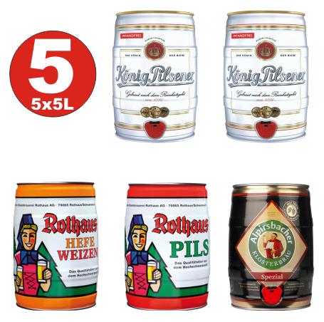 5x5 liter barrels Premium Beer 2 x King, Rothaus 1 x yeast + 1 x Pils, 1 x Alpirsbacher 4,9 -5,2 vol