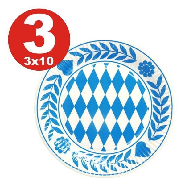 3 x 10 pieces Bavaria plate, cardboard round diameter 23 cm Bavarian blue