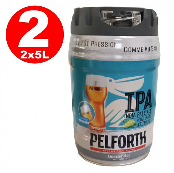 2 x Pelforth IPA India Pale Ale Hops and Fruits 5 liter party keg 5.9% vol. disposable Alcohol content: 5.8% vol.