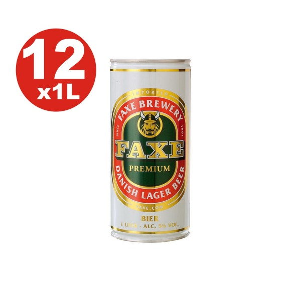 12 x Faxe Premium Danish Lager 5% vol 1 liter can