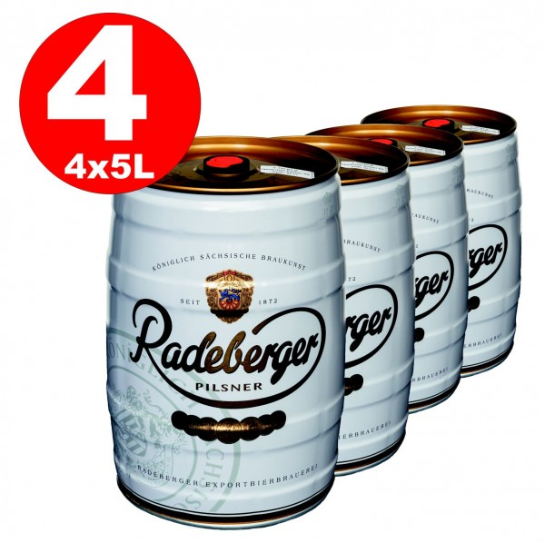 4 x Radeberger Pilsener 5 liter party keg 4.8% vol - disposable