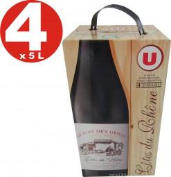 4x Cotes du Rhone Le Bois des Grives red wine 5 liters package 13% vol.