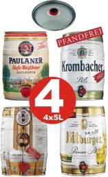 4 x Partyfass Different varieties 5 liters alcohol content see description