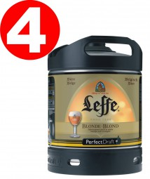 4x Leffe blonde beer from Belgium Perfect Draft 6 liter barrel 6,6 % vol