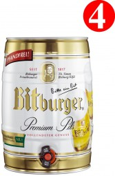 4x Bitburger premium PILS party keg 5 litre